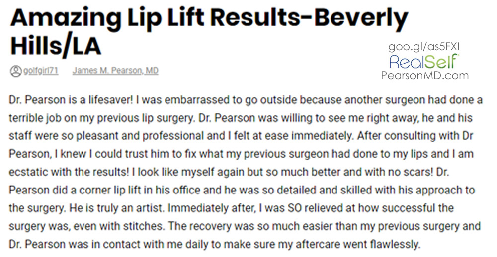 Photo Dr. Pearson Lip Lift Review